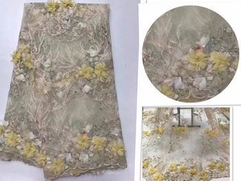 Latest Style Beaded Lace Fabric 2017 Fashion African Lace Fabric Tulle 3D flowe African French Lace Fabric  green J