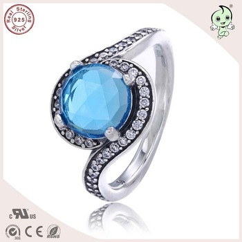 Top Quality Noble European And America Famous Silver Jewlery Summer Collection Eye Design Blue Stone 925 Real Silver Ring