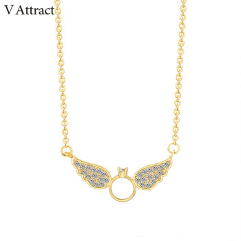V Attract Vintage CZ Angel Wing Pendant Necklace Women 2017 Tattoo Choker Stainless Steel Chain Collier Men Jewelry