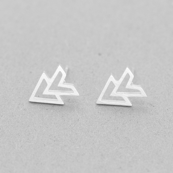 GORGEOUS TALE 10 Pair Geometric Double Triangle Stud Earrings Silver Color Stainless Steel Arrow Pose Earing Women Jewelry