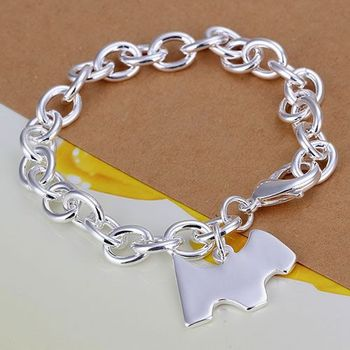 H271 925 sterling silver bracelet, 925 sterling silver fashion jewelry Dog tags thick bracelet /dmgamdna bzaakqha