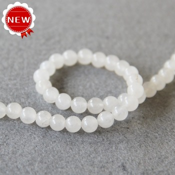 Accessory Crafts 6mm New White Chalcedony Bead Round Shape Loose 15inch Jewelry Making Design Wholesale Semi Finished Stones