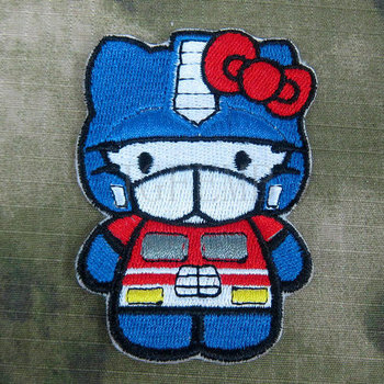 Hello kitty optimus prime kitty askeri taktikler moral nakış patch b2754